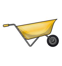 wheelbarrow flat icon in colored crayon silhouette vector image
