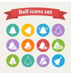 white Bell icons set vector image