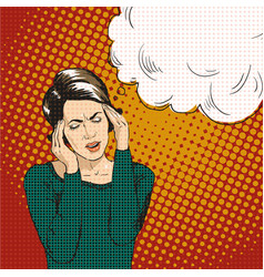 woman in pop art retro comic style woman oh vector image