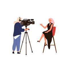 Woman presenter talking sitting on chair during vector