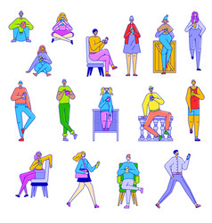 Young people with smartphone on character line art vector