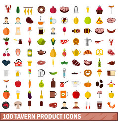 100 tavern product icons set flat style vector image