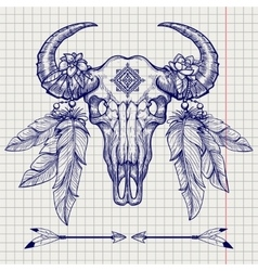 Buffalo skull ball pen sketch vector image vector image