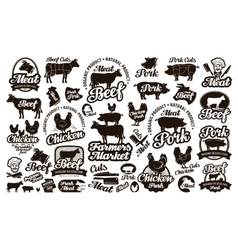 Butchery meat Set logos icons elements labels vector image vector image