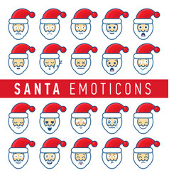 cartoon set of different santa claus faces vector image