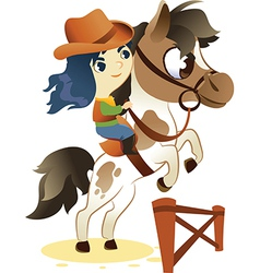 Cowgirl on Small Horse jumping a Hurdle vector image vector image