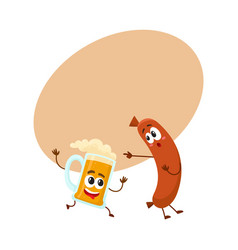 funny beer mug and frankfurter sausage characters vector image