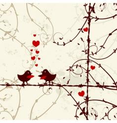 love birds kissing on branch vector image