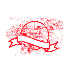 red dirty circle grunge rubber stamp and ribbon vector image vector image