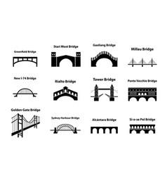 set of bridge landmark icons in silhouette style vector image