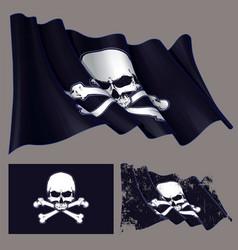 waving pirate flag jawless skull and bonesxa vector image vector image