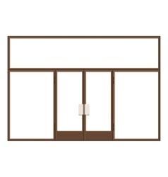 Wood Shopfront with Large Black Blank Windows vector image vector image