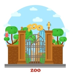 Zoo entrance with waterfall and parrots on tree vector