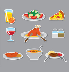 dinner stickers and badges vector image