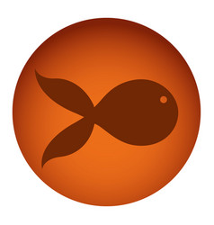 orange color circular frame with silhouette fish vector image
