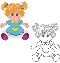 Outlined girl doll toy vector image
