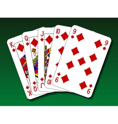 Poker hand - Straight flush vector image vector image