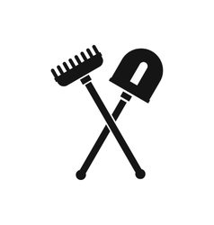 Shovel and rake icon simple style vector image