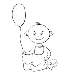 Baby with a toys contours vector image vector image