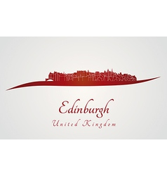 Edinburgh skyline in red vector image vector image