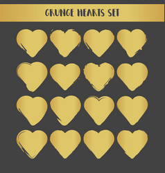 grunge gold hearts set abstract vector image