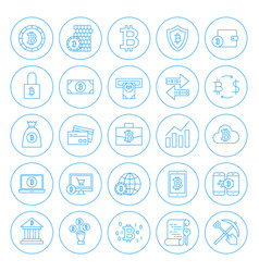 line circle bitcoin icons vector image