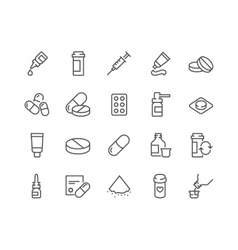 Line Pills Icons vector image vector image