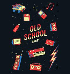 old school elements set retro and disco vector image