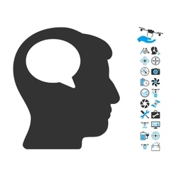 Person Thinking Icon With Air Drone Tools Bonus vector image vector image