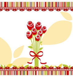 springtime love greeting card with red rose flower vector image vector image
