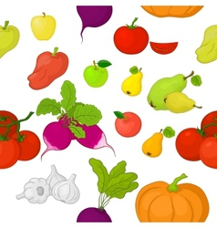Vegetables and fruits seamless background vector image vector image