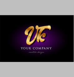vk v k 3d gold golden alphabet letter metal logo vector image