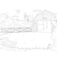 Cartoon farm color book black and white outline vector