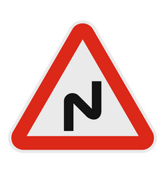 dangerous turn left icon flat style vector image