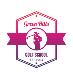 golf school logo emblem with golfer swinging club vector image vector image