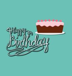 happy birthday cake party celebration vector image