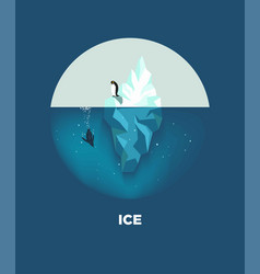 iceberg with penguins round logotype on blue vector image vector image