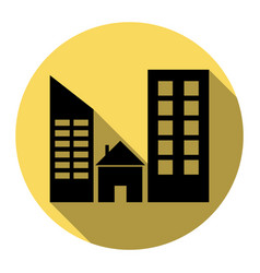 real estate sign flat black icon with vector image