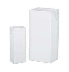 set of blank white cardboard package for beverage vector image