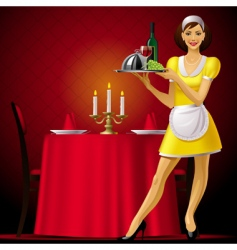 waitress in restaurant vector image vector image