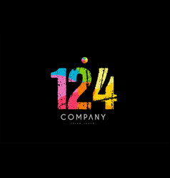 124 number grunge color rainbow numeral digit logo vector image