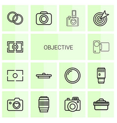 14 objective icons vector