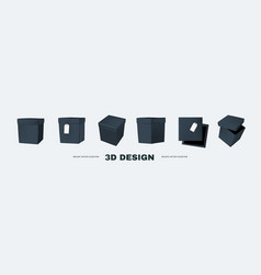 3d box collection in different view delivery vector image