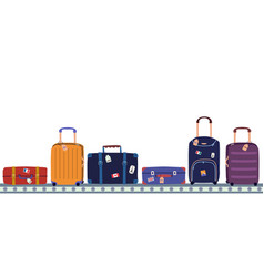 Airport conveyor belt with passenger luggage in vector
