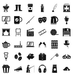 Avenue icons set simple style vector