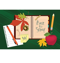 Back to school Organizer and autumn leaves vector
