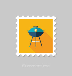 Barbecue grill stamp summer holiday vector