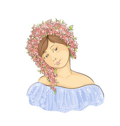 beautiful lady with wreath of flowers vector image