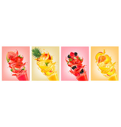 Big set of labels with fruit splash of juice vector