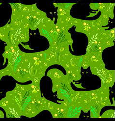 black cat in different poses on a background of vector image